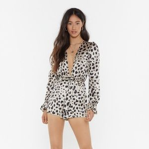 Nasty Gal Spotted Romper w/Plunging Neckline NWT